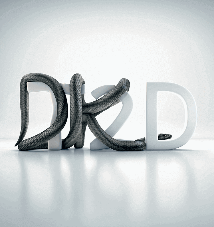 A metallic grey snake squeezing the letters T 2 D. Its body makes the letters look like D K D